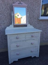 Annie Sloan Handpainted Shabby Chic Dressing Table & Mirror
