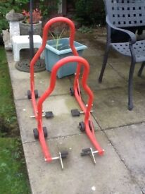 Motorcycle paddock stands front and rear