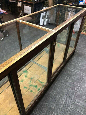 Good Condition - Large Vintage Wood Glass Retail Display Case Cabinet