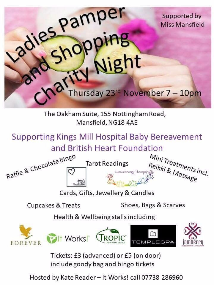 Ladies charity pamper and shopping night - 23rd November