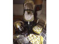 Cosatto Giggle Treet Travel System pram pushchair carrycot car seat & adaptors