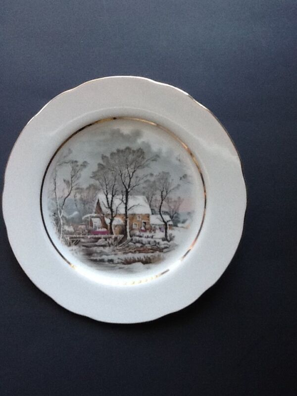 Cabin Winter Scene-5 Currier and Ives Dessert Plates- Avon -New in box.