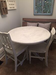 Cute white painted table with glass