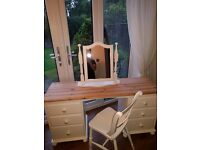 Lovely shabby chic dressing table set (drawers mirror and chair)