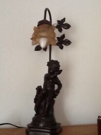 BRONZE TIFFANY LAMP exc working con, vintage style, bronze figure, V heavy, Amber light shade,
