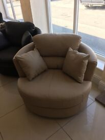Brand New Designer 100% Leather Swivel Armchair
