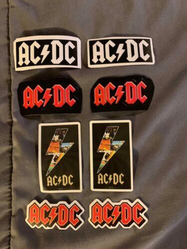 """Lot of (8) AC/DC 1"""" to 3"""" Band Logo Stickers FAST! FREE SHIP! Angus Young"""