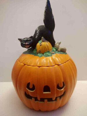 Scioto Molds 1979 Jack-O-Lantern Pumpkin Black Cat Topper Cookie Jar Halloween