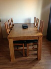 6 x 3ft SOLID OAK DINING ROOM TABLE & 6 CHAIRS (2 MONTHS OLD)