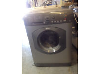 Reconditioned silver Hotpoint HV8B593 8kg load 1300 spin washing machine. 3 month guarantee