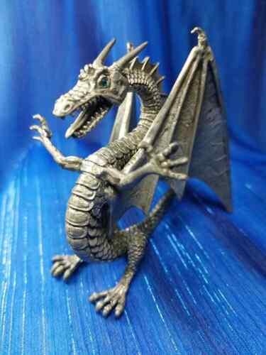 White Winged Dragon Pewter Rawcliffe Light Blue Swarofski Crystal Eyes US Made