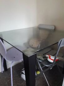 Glass table with metal 2 chairs