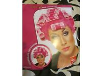 PINK FANCY DRESS WIG WITH CURLERS MRS MOP / GRANNY [ARTY OR HEN DO