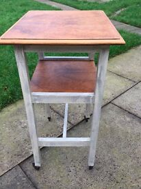 walnut console table on casters with annie sloan paint