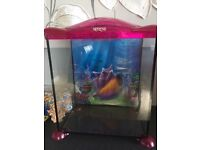 17l fish tank with ornaments, filter and stones