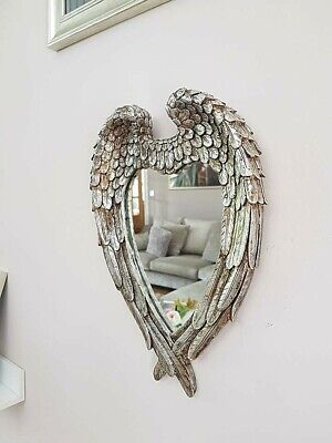 Large Antiqued Silver Angel Wings Mirror Vintage Ornate Heart Wall Mirror Decor ()