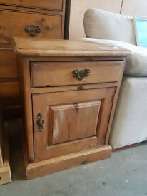 Dark pine bedside cabinet