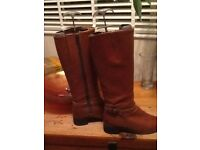 Long ladies real leather boots size 5