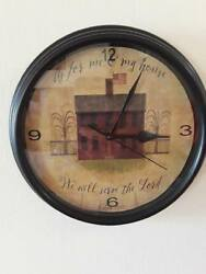 serve Lord primitive salt house Decorative Wall Clock decor kitchen farmstyle