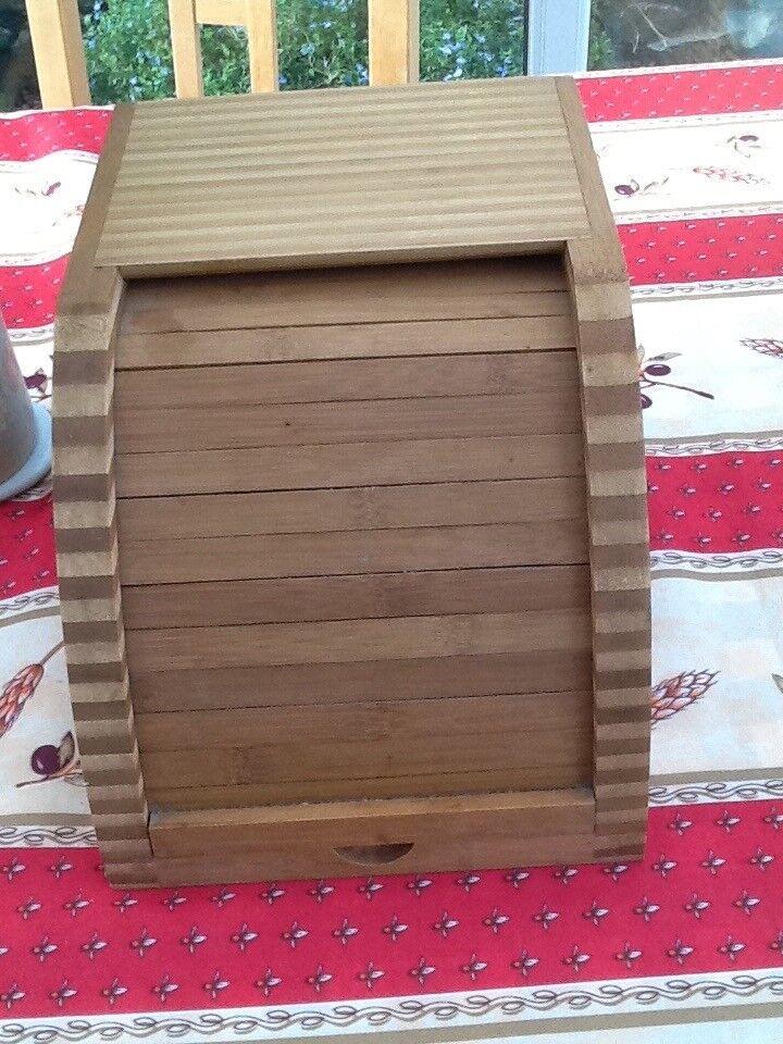 Roll top bamboo bread bin.