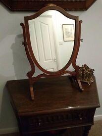 Antique Regency Style Mahogany Shield Shaped Mirror