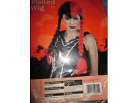 SCHOOL GIRL VAMP BLACK AND RED FANCY DRESS WIG GREAT FOR HALLOWEEN PARTY
