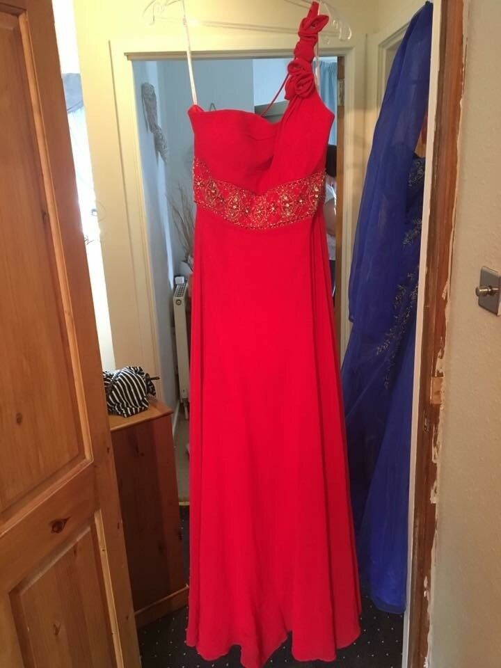 Red ball gown and shawl