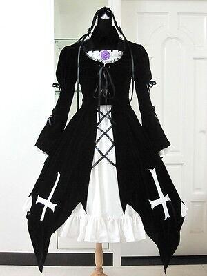 Rozen-Maiden Suigintou Mercury-Lampe Cosplay Keid Kostüm Schwarz lolita (Rozen Maiden Suigintou Kostüm)
