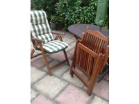 Used teak garden furniture 5 X Folding Chairs (incl cushions) and table