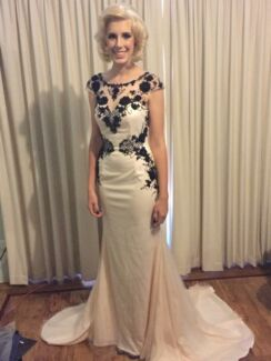 Size 8/10 Light Pink Jadore Ball Gown with Black delicate sequins
