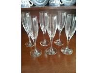 Six German Crystal Champagne Flutes