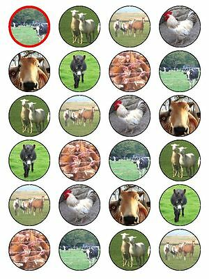 X24 FARM ANIMAL CUP CAKE TOPPERS RICE PAPER  COW PIG SHEEP RABBIT HEN & DUCK