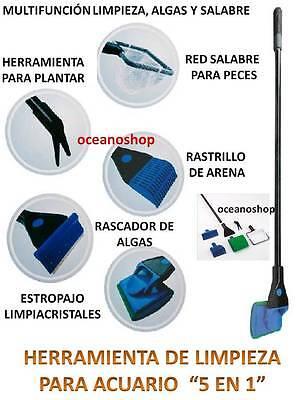 RASCADOR 5 en 1 LIMPIA CRISTALES ALGAS ACUARIO RED SALABRE RASTRILLO Y...