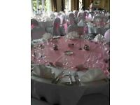 around 100 White Cotten Chair Cover and a Mixture of Sashes