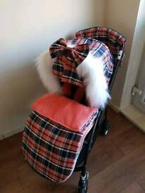 Bugaboo bee3 Coral Tartan set up