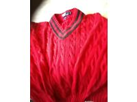 Ralph Lauren red cable knit jumper Ex.large