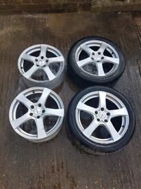 "17"" DEZENT 5 SPOKE ALLOY WHEELS 5X112 FORD GALAXY VW SHARAN SEAT ALHAMBRA Audi"