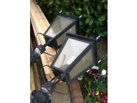 Coach lanterns x2 working black aluminium very heavy