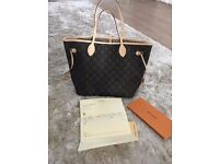 M40990 Louis Vuitton Medium Neverfull Monogram MM bag beige interior new with receipt