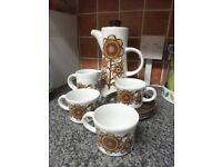 ROYAL TUDOR WARE vermont design vintage retro coffee pot and cups milk jug