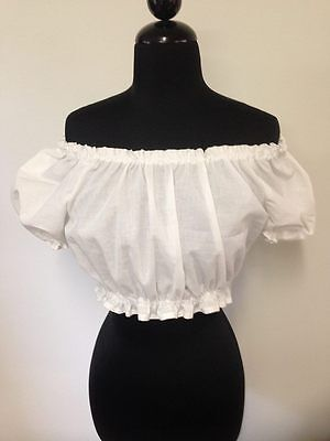 Chemise Cropped Top Blouse Bohemian Pirate Wench Medieval Peasant Belly Dance