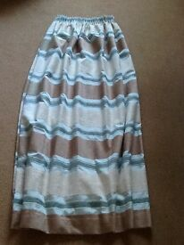 Aqua, beige and mink stripe curtains