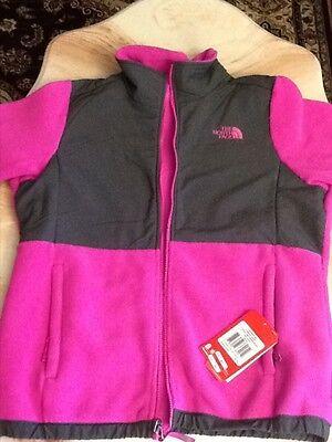NWT North Face Girls Denali Fleece Jacket Size XL Azalea Pink/Graphite Gray - Graphite Denali Fleece