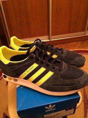 Adidas La Trainer UK11 Athletic Sneakers, Medium (D, M), Navy, Striped, Suede an