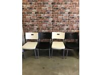 RETRO WHITE AND BLACK PLASTIC DINING CHAIRS £35