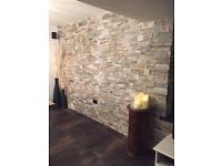 REAL STONE WALLCLAD (EASY TO INSTALL & COMES IN A RANGE OF COLOURS) FOR USE INTERNALLY & EXTERNALLY