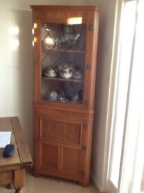 Oak corner cupboard circa 1980