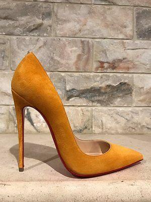 NIB Christian Louboutin So Kate 120 Yellow Full Moon Suede Heel Pump Shoe 35