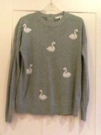 Next Green jumper Swan design size 12