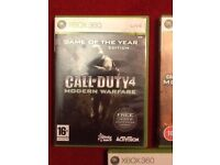 Xbox war fighting games, including Gears of War 2 & 3, Call of Duty - Modern Warfare 2 & 4